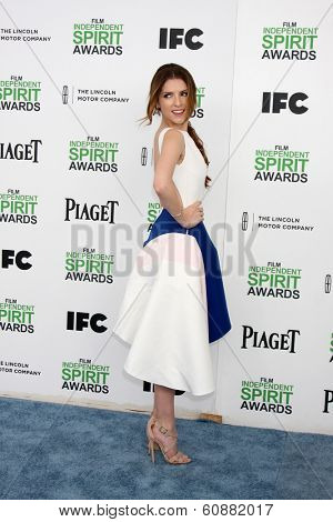 LOS ANGELES - MAR 1:  Anna Kendrick at the Film Independent Spirit Awards at Tent on the Beach on March 1, 2014 in Santa Monica, CA