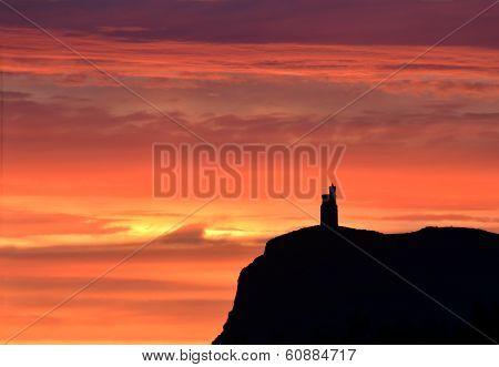 Sunset Sky With Milner Tower On Brada Head, Isle Of Man, Uk