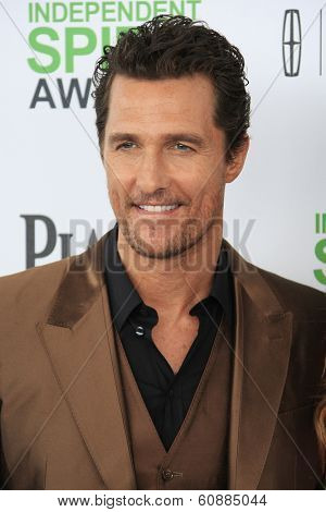 SANTA  MONICA - MAR 1: Matthew McConaughey at the 2014 Film Independent Spirit Awards at Santa Monica Beach on March 1, 2014 in Santa Monica, California