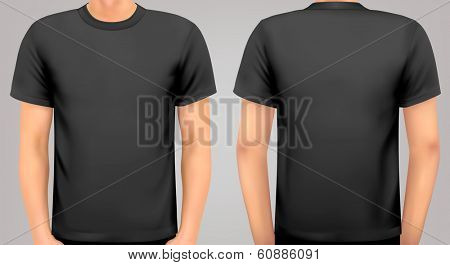 A male body with a black shirt on. Vector.