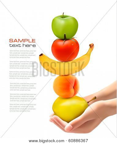 Hands holding group of fresh fruit. Dieting concept. Vector.