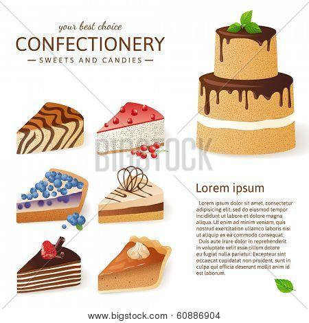 9 cake slices over white background