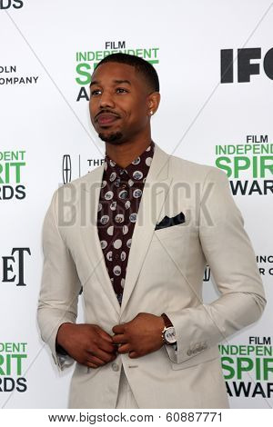 LOS ANGELES - MAR 1:  Michael B Jordan at the Film Independent Spirit Awards at Tent on the Beach on March 1, 2014 in Santa Monica, CA