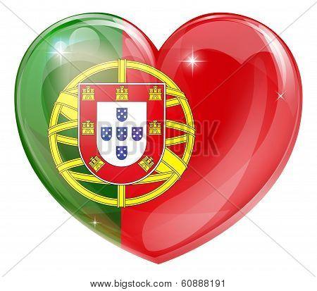 Portugal Flag Love Heart