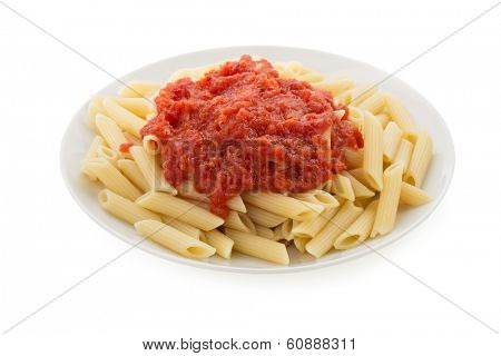 pasta Penne in plate isolated on white background