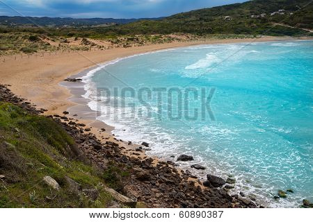Fornells in Menorca Cala Tirant beach at Balearic Islands of Spain