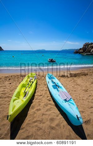 Ibiza cala Sant Vicent beach with Kayaks san Juan at Balearic Islands of spain