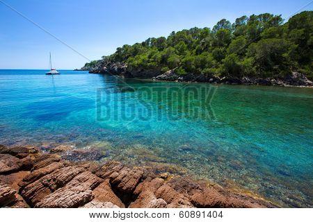 Ibiza Cala Mestella Mastella in Santa Eulalia del Rio at Balearic islands