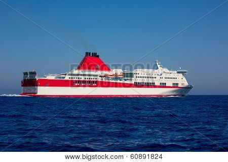 Mediterranean sea curise boat in red and white dolor
