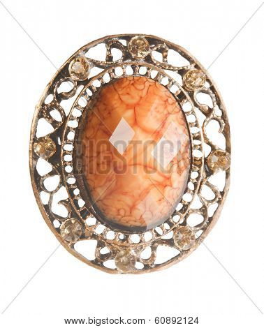 vintage locket with amber isolated on white
