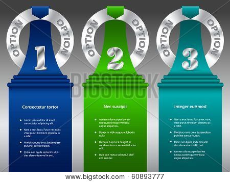 Inforgraphic Design With Metallic Rings And Color Ribbons