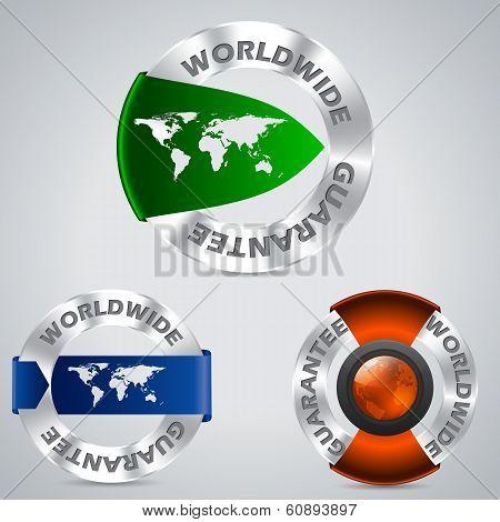 Various Worldwide Metallic Guarantee Badges