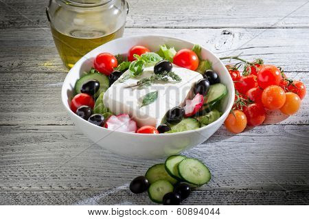 feta traditional greek cheese and greek salad