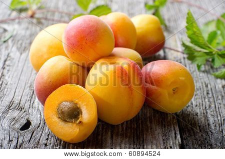 apricot on wood background