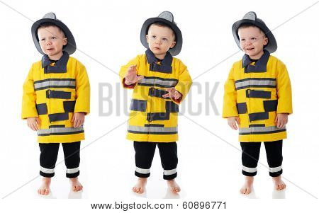 A three-image panel of a toddler in his fireman's outfit.  One is grieving, one cautious, one happy.  On a white background.