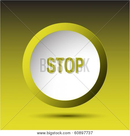 Stop. Plastic button. Vector illustration.