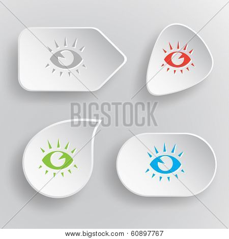 Eye. White flat vector buttons on gray background.
