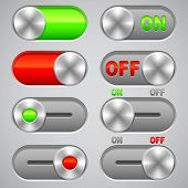 image of toggle switch  - Collection of On and Off switches on gray background - JPG