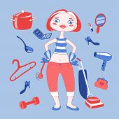 stock photo of stereotype  - Vector illustration of cartoon housewife mom with different things around her - JPG