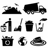 stock photo of garbage bin  - Garbage trash and waste icon set on white background - JPG