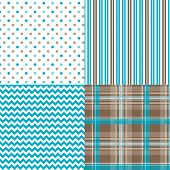 foto of taupe  - Cute chevron pattern vector and plaid polka dots and stripes retro design - JPG