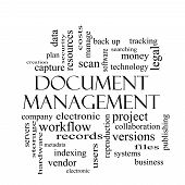 Document Management Word Cloud Concept In Black And White