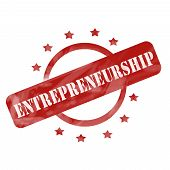 pic of entrepreneurship  - A red ink weathered roughed up circle and stars stamp design with the word ENTREPRENEURSHIP on it making a great concept - JPG
