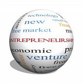 picture of entrepreneurship  - Entrepreneurship 3D sphere Word Cloud Concept with great terms such as economic private venture and more - JPG