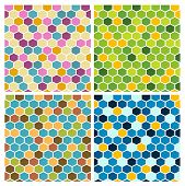 stock photo of mayhem  - The set of geometric backgrounds made out of hexagons - JPG