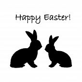 image of uncolored  - Monochrome silhouette of two Easter bunny rabbits - JPG