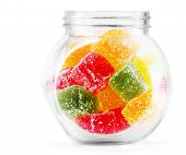 stock photo of jar jelly  - Colorful Jelly Candies in a glass jar - JPG