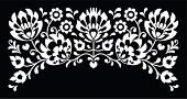 Polish floral folk white embroidery pattern on black background