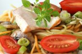 Smoked Trout With Colored Spaghetti And Vegetable poster