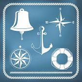 stock photo of nautical equipment  - Nautical symbols  - JPG