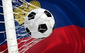 Flag Of Liechtenstein And Soccer Ball In Goal Net