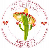 stock photo of sombrero  - Stamp red with cactus and sombrero with Acapulco - JPG