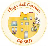picture of playa del carmen  - Stamp yellow with playa del carmen and Mexico - JPG