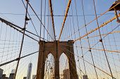 stock photo of suspension  - The Brooklyn Bridge is one of the oldest suspension bridges in the United States - JPG