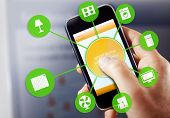 pic of temperature  - smart house device illustration with app icons - JPG