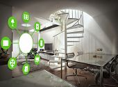 picture of ventilator  - smart house device illustration with app icons - JPG