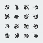 stock photo of passion fruit  - Vector fruits and berries mini icons set  - JPG