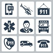 stock photo of rescue helicopter  - Vector emergency service icons set over white - JPG