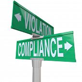 stock photo of financial audit  - Compliance Violation Two Way Street Signs Direction Follow Rules - JPG