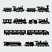 pic of passenger train  - Vector isolated trains silhouettes set on grey background - JPG