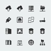 stock photo of vpn  - Vector network mini icons set on grey background - JPG