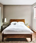 pic of mattress  - Beautiful Clean and Modern Bedroom with empty wall to add some text - JPG