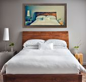 foto of canvas  - Beautiful Clean and Modern Bedroom with fun Canvas on the Wall that is a repetition or infinity concept - JPG
