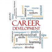 foto of mentoring  - Career Development Word Cloud Concept with great terms such as goals resume mentor and more - JPG