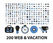 200 web & vacation icons set, vector