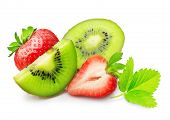 picture of hairy  - Kiwi fruit slice and strawberry isolated on white - JPG